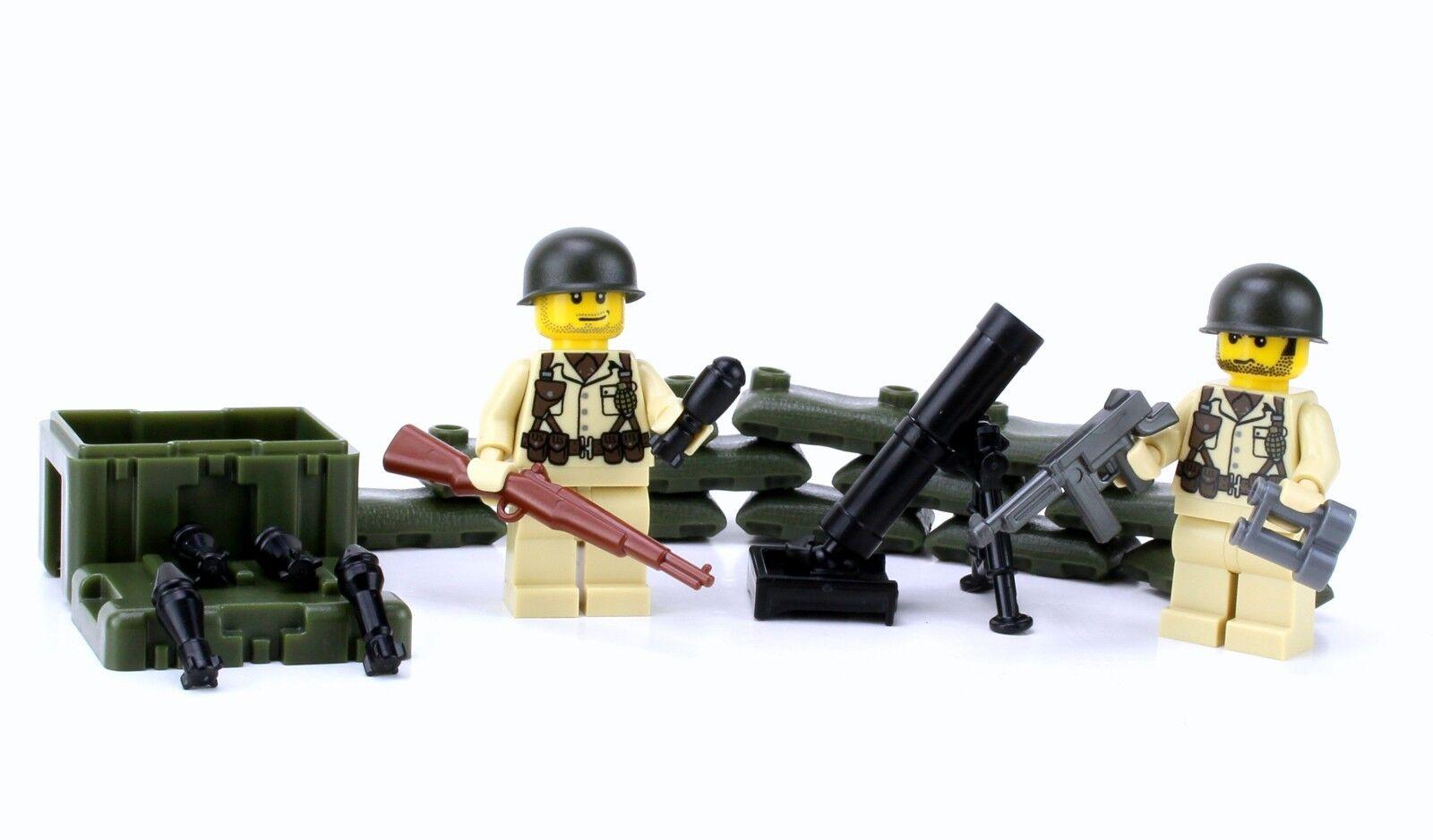 US Army WW2 Mortar team (SKU70)made with real LEGO® minifigures