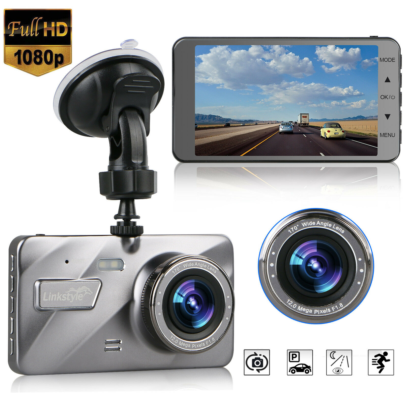 "s-l1600 4"" Vehicle 1080P Car Dashboard DVR Camera Video Recorder G-Sensor Dash Cam"