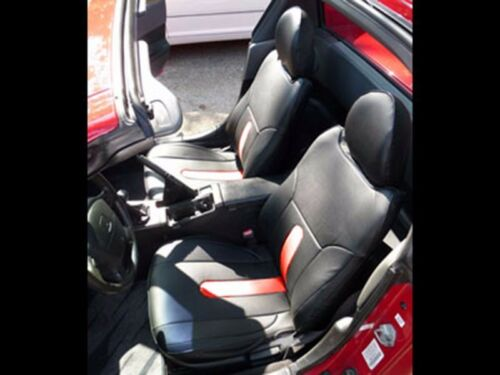 HONDA DEL SOL 1993-1997 BLACK//RED S.LEATHER CUSTOM FIT FRONT SEAT COVERS