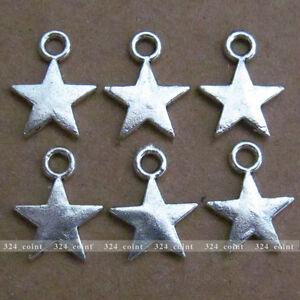 P085-50pcs-Tibetan-Silver-Beads-Charm-Star-Jewelry-retro-Accessories-Wholesale