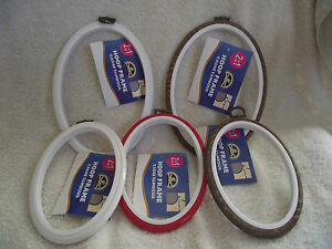 DMC-Oval-Flexi-Hoop-for-Embroidery-Cross-Stitch-Choice-of-Size-amp-Colour