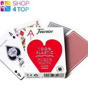 FOURNIER-2500-100-PLASTIC-CASINO-POKER-SPIELEKARTEN-DECK-STANDARD-INDEX-ROT-NEU