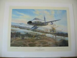 Knight-039-s-Charge-F-100-Super-Sabre-Simon-Atack-Bud-Day-MOH-Signed-Aviation-Art