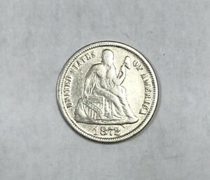 1872 Liberty Seated Dime Fine