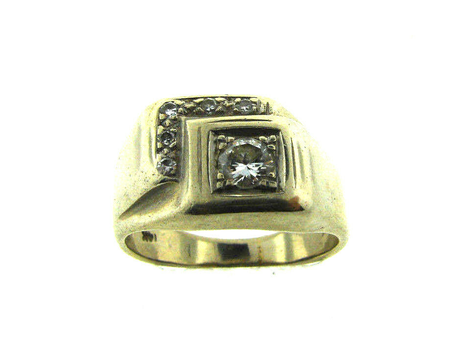 VINTAGE 14K WHITE gold STAMPED DIAMOND MENS UNISEX RING