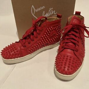 aef151872225 Image is loading Christian-Louboutin-Louis-Spikes-High-Top-Sneakers-Red-