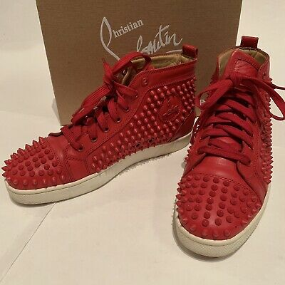 the best attitude 5c96a 8f4f7 Christian Louboutin Louis Spikes High Top Sneakers Red Mens Sz 42 / US 9 |  eBay