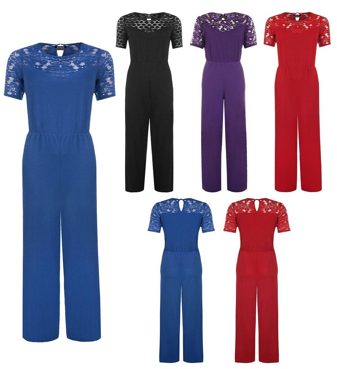 Womens Short Sleeve Lace Crochet Jumpsuit Ladies Wide Palazzo LegStyle Jumpsuit