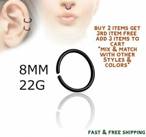 Black Titanium Anodized Stainless Steel Nose Ring Hoop 8mm 22
