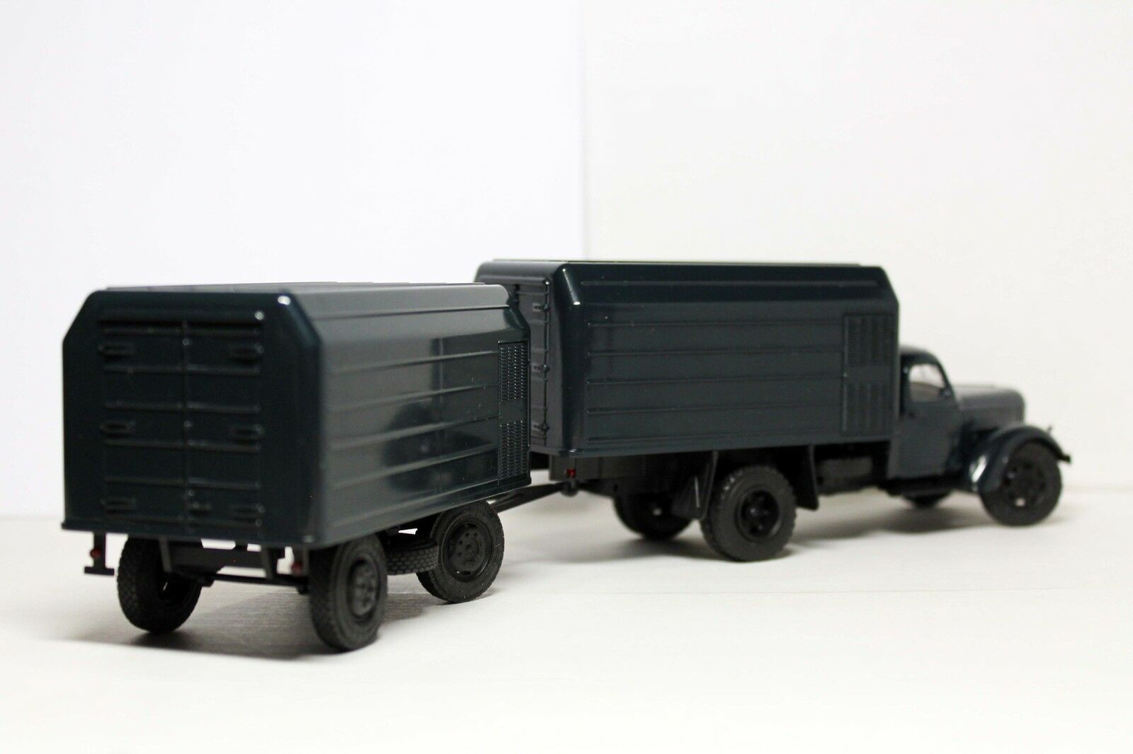 Handmade 1 43 43 43 LUMZ-890b (ZIL-164A) 1988 Conversion swivel front wheels + Trailer d0315a