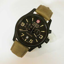 NEW $450 GENTS WENGER 43MM BLACK PVD SS TERRAGRAPH CHRONOGRAPH 100M WATCH #79091