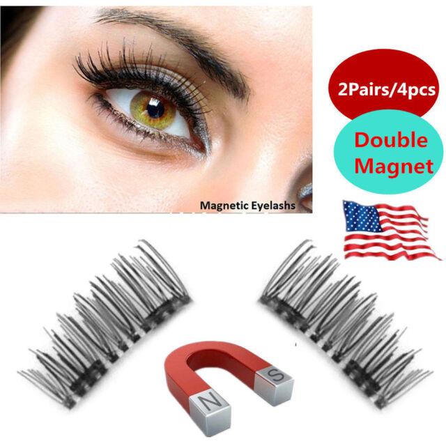 70a976a66ab 3D Double Magnetic False Eyelashes Natural Eye Lashes Extension Handmade  4Pcs AA