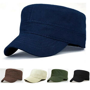 Classic Men Women Solid Color Army Hat Cadet Combat Plain Military Flat Cap New