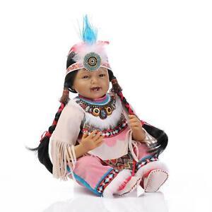 Reborn Toddler Indian Doll Silicone Black Skin 22in 55cm Girl Toy