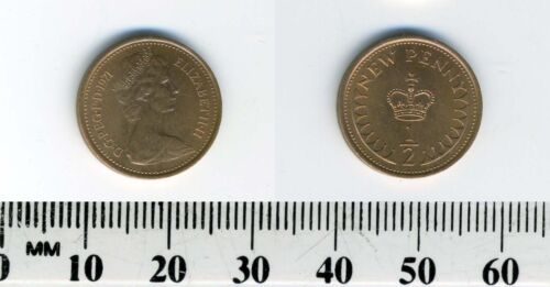 Queen Elizabeth II GREAT BRITAIN 1971-1//2 New Penny Bronze Coin