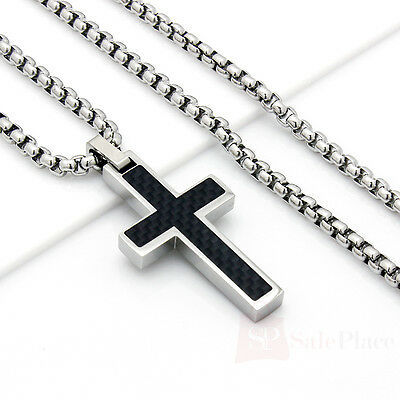 """Mens 22"""" Stainless Steel Silver Box Chain Necklace Carbon Fiber Cross Pendant"""