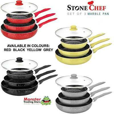STONECHEF MARBLE STONE CERAMIC COATED COOKWARE SET OF FRYPAN PANS NON-STICK