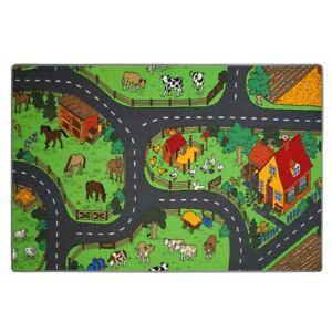 Spielteppich Bauernhof Kinder Teppich Farm Tiere Straßenteppich Kinderteppich