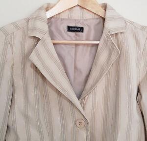 KOOKAI Cream   Beige Gold Grey Striped Crop L S Work Evening Jacket ... dc0a2ba44