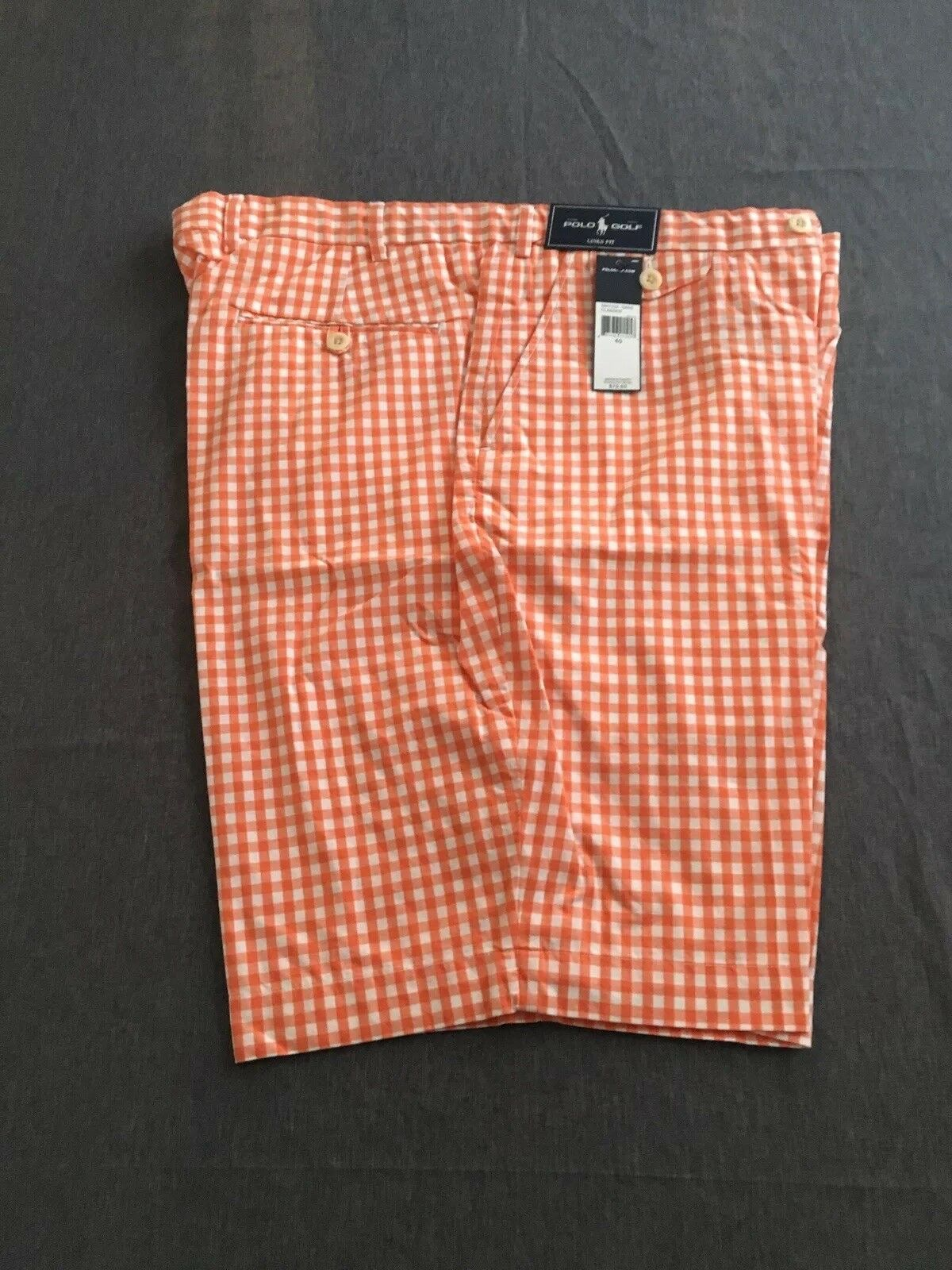 NWT Size 40 Polo by Ralph Lauren orange and White Shorts Retail