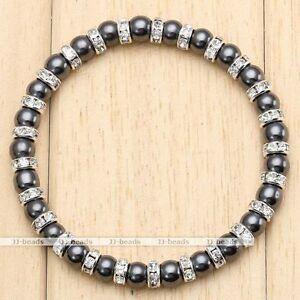 6mm-Black-Hematite-Crystal-Spacer-Bead-Healing-Powerful-Stretchy-Bangle-Bracelet