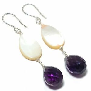 """Mother Of Pearl Gemstone 925 Solid Sterling Silver Jewelry Earring 2.96 """""""