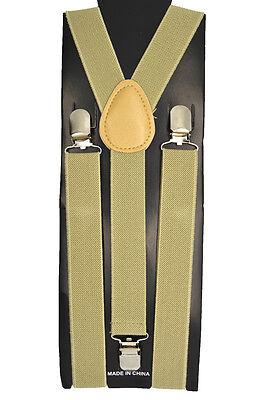 "Unisex Clip-on Braces Elastic Suspender ""Khaki"" Y- back Adjustable Suspender"