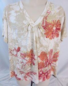 Oleg-Cassini-Embellished-Short-Sleeve-Floral-Top-Blouse-Shirt-Women-039-s-2X-D204