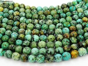Natural-African-Turquoise-Gemstone-Faceted-Round-Beads-15-5-039-039-6mm-8mm-10mm-12mm