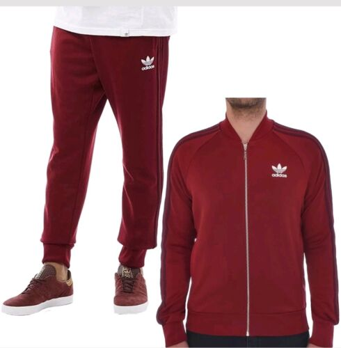 Adidas Originals Superstar Mesh Tracksuit Jacket Bottoms Burgundy Mens S M L XL