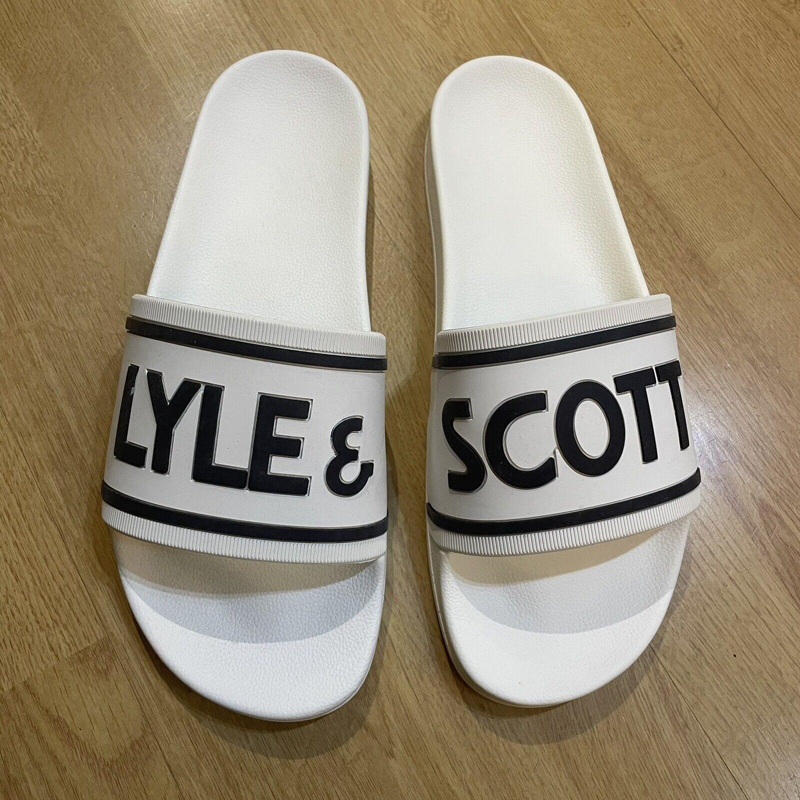 Men's Lyle & Scott Sliders White UK 12 RRP