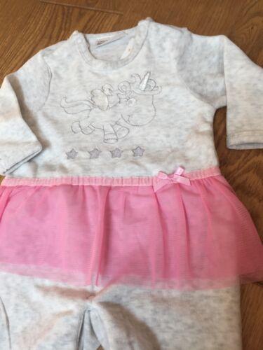 Baby girl sleepsuit babygrow with pink tutu 2-4 month unicorn detail 62 cm