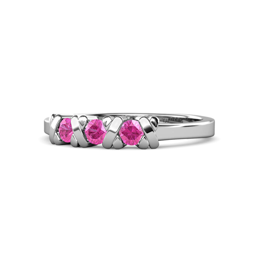 Pink Sapphire XOXO Hugs Kisses Womens 3 Stone Ring 0.32 ct 14K gold JP 102032