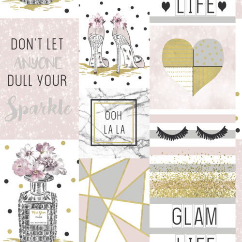 Arthouse Glam Life Pink Wallpaper Sparkle Glitter Shoes Heart Floral Apex