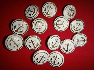 Lot Of 14 US Navy ANCHOR Gold/White Metal Buttons For Jackets & Shirts