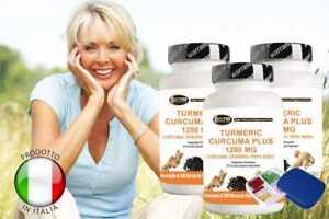 Curcuma pepe nero e zenzero curcumina piperina Kurkuma + porta pillole 3 BOX