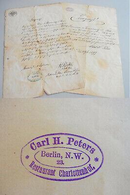 2 Restaurant-zeugnisse Berlin 1888 & 1899 Für Kellner Bennewitz / Stempel Gutes Renommee Auf Der Ganzen Welt