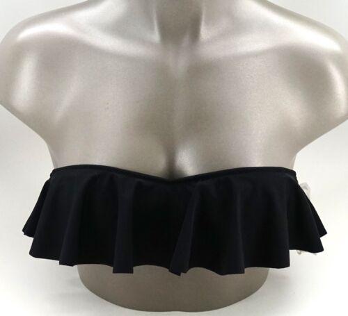 New Victoria/'s Secret Swim Black Flounce Bandeau Bikini Top XS-M
