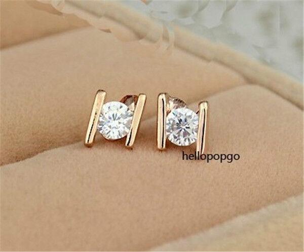 18K Rose Gold Gp Austrian Crystal Ear Fashion Jewelry Studs Earrings BR927