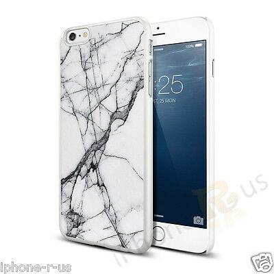 White Black Marble Effect Hard Case Cover For Various Mobile Phones