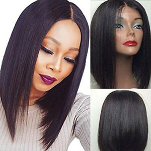 Short Bob Synthetic Lace Front Wigs Heat Resistant Straight Hair ... 1f12a6a4a90e