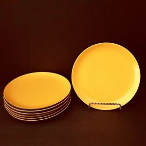 Mikasa-Terra-Stone-Curry-Yellow-7-Salad-Plates-7-5-034-As-Is-Vintage-More-Pcs-Avail