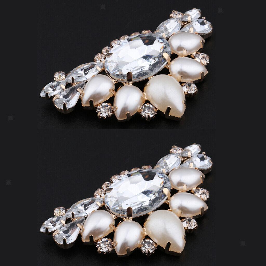 Triangle Pearl Rhinestone Crystal Party Bridal Shoe Clip DIY Craft Decors 2x