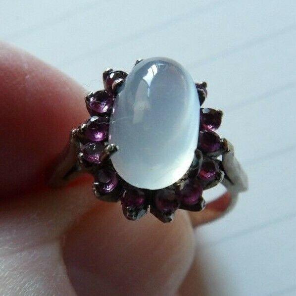 Antico oro Bianco 18 carati pietra di luna & & & Ruby stile Halo Anello Taglia J XWL113 8a6dce