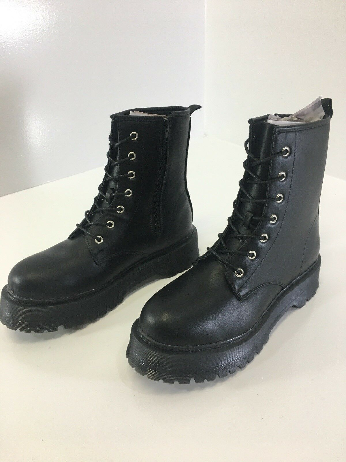 TRUFFLE COLLECTION WOMENS CHUNKY SIDE ZIP LACE UP COMBAT BOOTS BLACK US 8 NEW