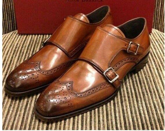 nessun minimo Handmade Uomo Tan colore double monk formal formal formal scarpe, Uomo Monk scarpe, Uomo dress scarpe  servizio onesto