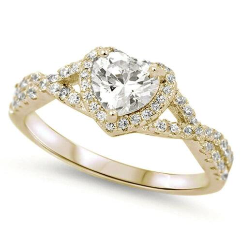 Halo Yellow Gold Plated Heart With Clear Cubic Zirconia .925 Sterling Silver Rin