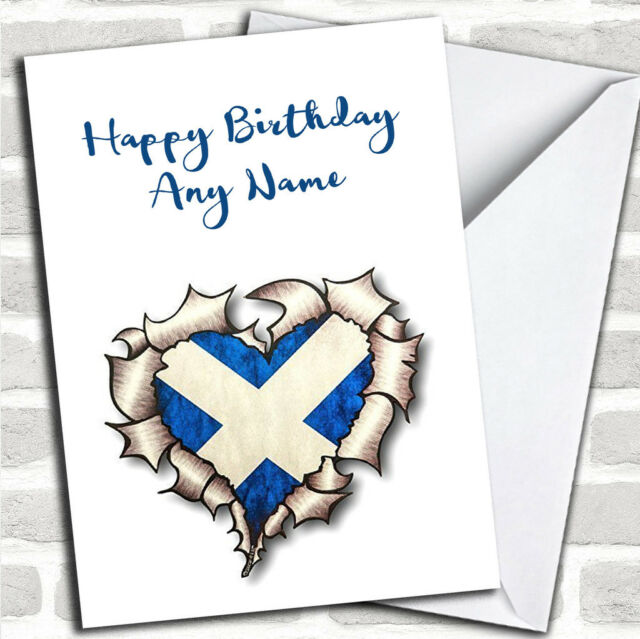 Scottish Heart Customised Birthday Greetings Card