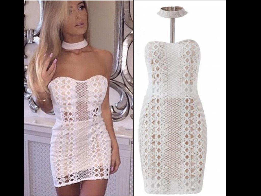 Women Lace Overlay Crochet Choker Harness Formal Party Bodycon Off Shoulde Dress