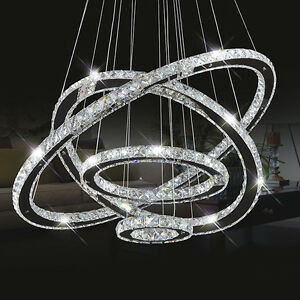 Image is loading New-LED-Modern-Crystal-Circle-Ring-Chandelier-Pendant- 81d29c38ad